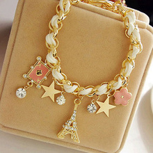 Fashion Jewelry Multielement Gold Chain Leather Rope Crystal Handmade Bracelet Eiffel Tower Star Pendant For Girls H6857 P