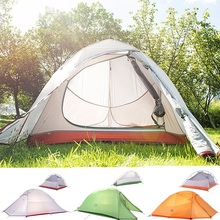 Camping Tent 4 Person big outdoor Hike 20D Silicone Fabric Ultralight Double Layers Aluminum Rod Camping Tent 4 Season With Mat