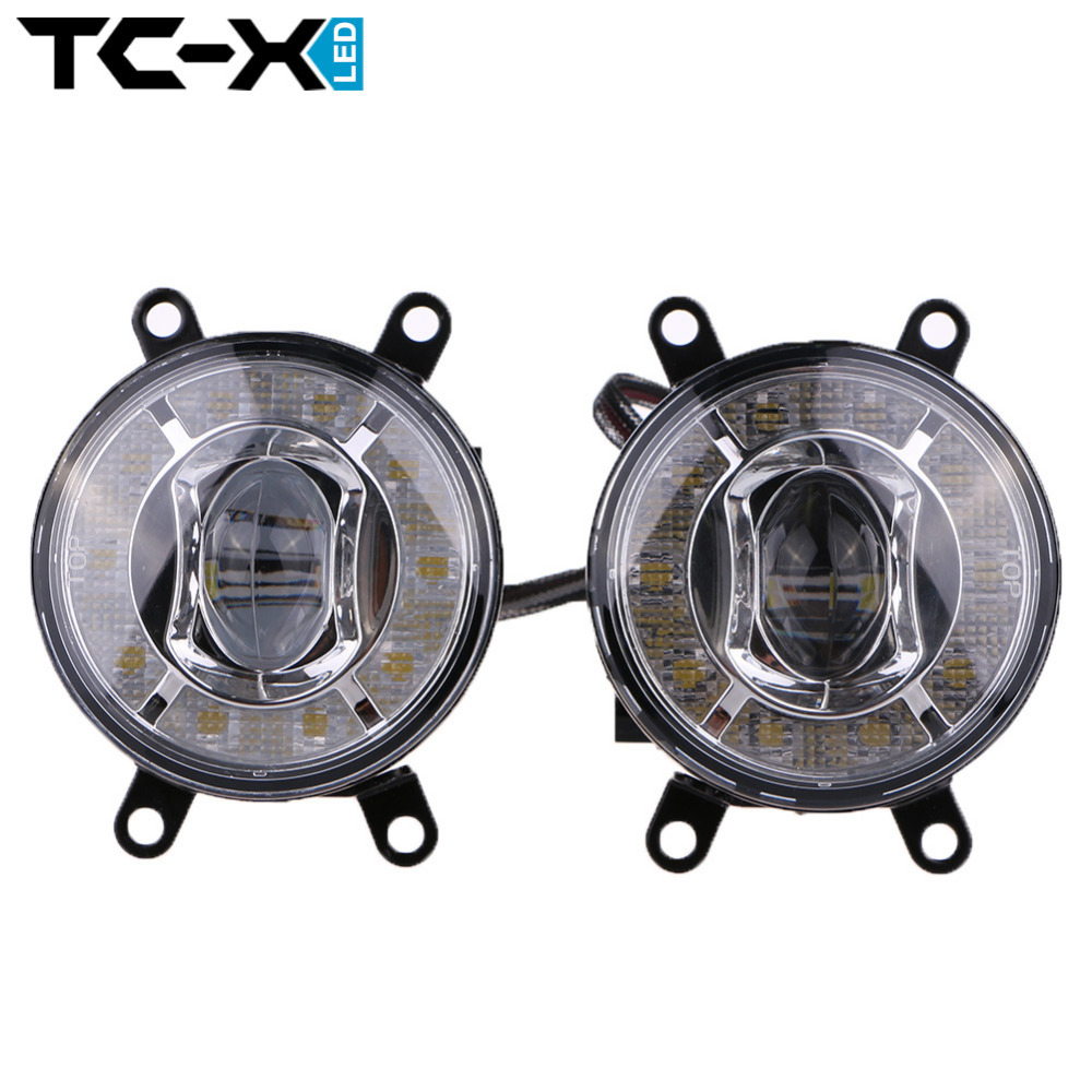 TC-X Car Styling 12V 24V LED Fog Light 3.55 Inch with DRL Daytime Running Light Fog Lamp White Amber Waterproof for Toyota Truck<br>