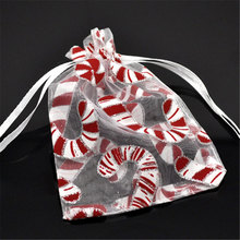 DoreenBeads 100 White Christmas Candy Cane Organza Wedding Gift Bags&Pouches 12x9cm (B15667)(China)