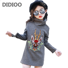 Girls Print Tops for Kids Long Sleeve Turtleneck T-shirts Winter Infant Cartoon Tees Child Cashmere Bottom Shirt 2 8 10 12 Years
