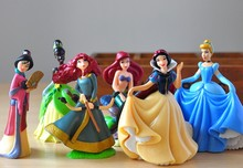 Disney Toys For Kids 6 Pcs/Set Cute Cartoon Princess Action Figures Mermaid Cinderella Snow White Dolls Models Tq0130