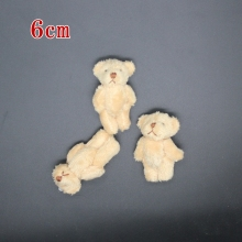 5pc 6.0cm plush mini Joint Teddy Bear Stuffed Wedding BOX toy doll Garment & Hair Accessories TOY DOLL(China)