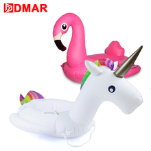 DMAR Inflatable Unicorn Flamingo Swan Giant Pool Float Toys for Kids Baby Swimming Ring Circle Mattress Pool Party Toys Beach(China)