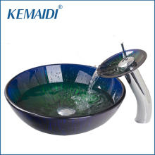 KEMAIDI New Bathroom Sink Hand Paint Washbasin Tempered Glass Basin Sink With Waterfall Faucet Taps Vessel Water Drain Set(China)