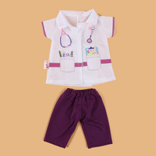 2 Pcs/Set 18 inch Doll Clothes American Girl Born Baby White Coat Pants Doctor Wear Jumpsuit Doll Accessories Baby Kids Gift(China)