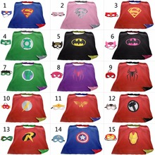 90*70cm Teen & Adult Superhero capes cape+mask Double side Satin fabric Spiderman Batman Ironman capes Halloween Cosplay gifts