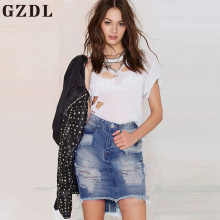 GZDL 2017 Summer Girl Denim Skirts Stylish High Waist Slit Ripped Hole Casual Bodycon Tassel Women Jeans Mini Skirts CL3548