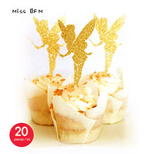 20pcs Glitter Gold Lovely Angel Wedding Cup Cake Topper Souvenirs Birthday Party Decoration DIY Wrapper Baby Shower Centerpieces