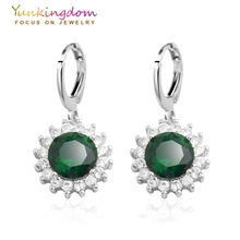 Yunkingdom Fashion  white Gold Color Drop Earrings Green synthetic gemstone wedding Jewelry