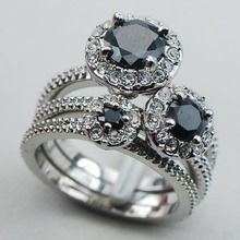 Black Onyx 925 Sterling Silver Top Quality Fancy Jewelry Engagement Wedding Three Ring Size 6 7 8 9 10 F1124