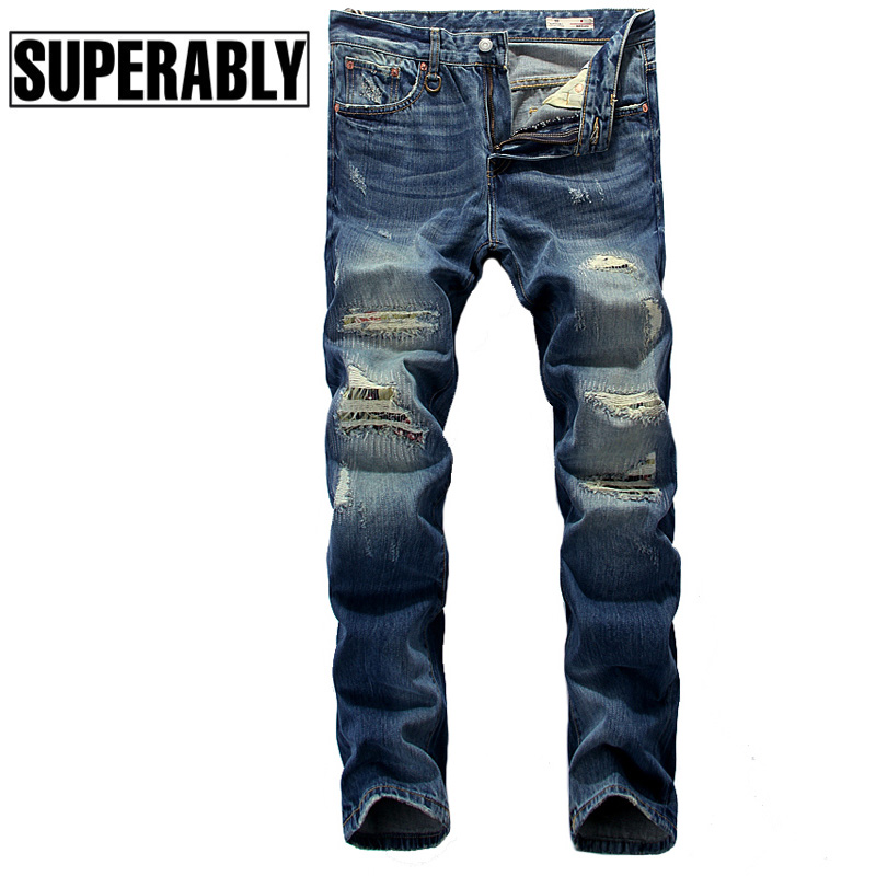 Dark Blue Color Top Quality Fashion Men Jeans Denim Stripe Ripped Jeans Men Brand Street Biker Jeans Night Club Punk Style PantsÎäåæäà è àêñåññóàðû<br><br>