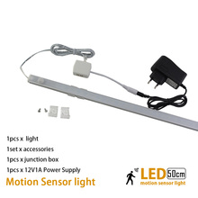 50cm10W Body infrared PIR Led lamp with motion sensor light for under kitchen cabinets lights 12V wardrobe closet bedroom