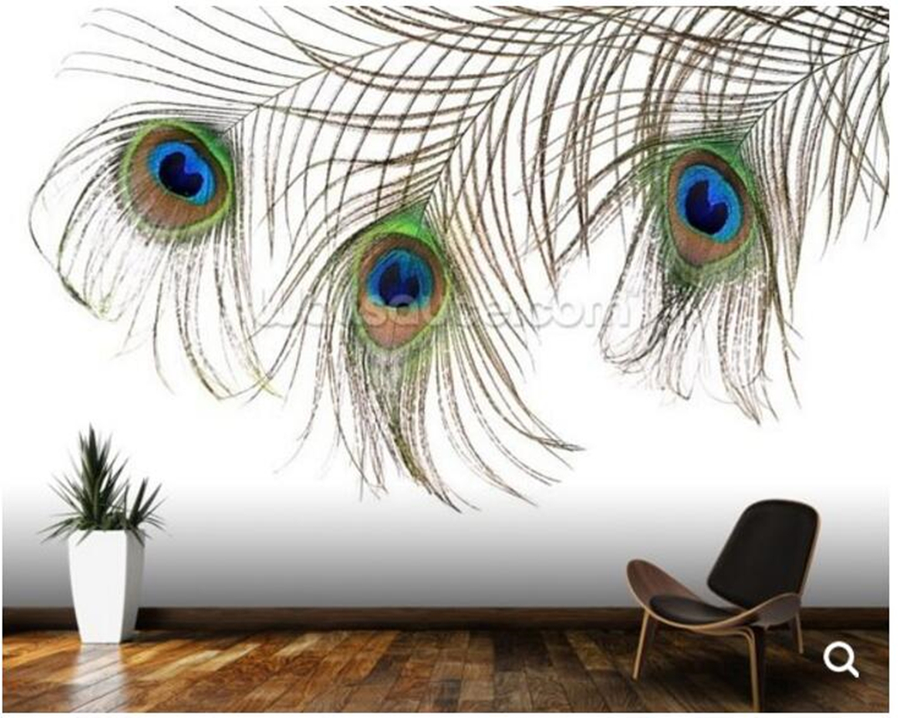 Large Peacock Wallpaper Mural,Beautiful feather of peacock for Living Room Bedroom Wall Background Wall Decorative Wallpaper<br>