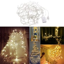 10m 8 Modes 100 Led Light String Warm White Lighting Strings Waterproof String Lights Chain for Wedding Christmas Party Decor(China)