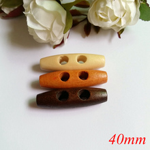 30pcs 40mm 2 holes wooden buttons sewing accessories Olive buckle large long scrapbook Duffel Coat Overcoat Button(China)
