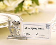 2015 Wholesale 1000 Pcs/Lot Silver Love Place Card Holder for Bridal Shower Wedding Favor / Dinner Party Table Decoration