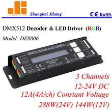 Free Shipping DMX Decoder, DMX LED Driver, w/ LCD DMX interface, RGB 3channels/12V-24V/12A/288W pn:DE 8006(China)