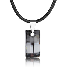 2017 charming mother's day gift quality leather cord rectangle pendant necklace with  crystal from swarovski bijoux