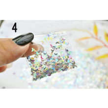 New 1 Bag Shiny Lovely Heart Star Moon Glitter Powder Sheets Tips Mixed Silver Gold Nail Art Decoration
