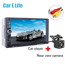 "7021G Car MP4 MP5 Player With GPS function 7"" HD 2 Din Touch Screen Bluetooth Steering Wheel Control With Rear View Camera(China)"