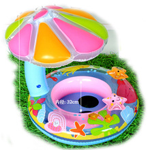 Free ship Summer Hot Sale Cute Inflatable Toddler Baby Swim Ring Infant Swimming Pool Water Float Seat with Floret Sun-shading(China)