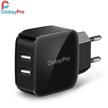 CinkeyPro Super Fast 2-Ports USB Charger Wall Adapter 5V 2A Mobile Phone Device Data Charging For iPhone iPad Samsung Universal