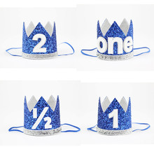CUTIEPIE Beautiful Blue Mini Felt Glitter Crown with Elastic Headband For Birthday Party DIY Crafts Hair Decorative Accessories
