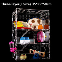 Large Luxury Hamster Cage 1 2 3 Layers Guinea Pig Cage Clear View Hamster Cage Small Pets House Acrylic Hamster Cage Accessories(China)