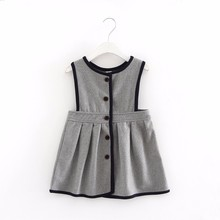 2017 Girl's winter Wool Dress Grey Button Tank Dress for Girls Elegant Fall Garments Sleeveless Vest Dress Epacket