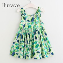 Hurave NEW arrival girls dress kids clothes children dress sleeveless leaf dress printed fashion girls summer clothing