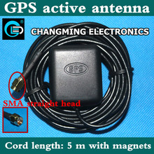 GPS antenna/SMA straight/ 5m long/super signal/navigation locator/car DVD antenna(working 100% Free Shipping) 1PCS