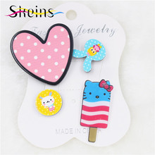 2017 Acrylic Brooch 4Pcs/set Collar Harajuku Charm Pink Love Heart Hello Kitty Ice-Cream Broche Sweater Women Pin Accessories