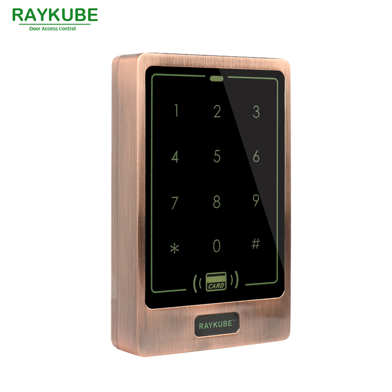 RAYKUBE Door Access Controller Password Touch Keypad Waterproof IPX3 RFID 125HKz Card Reader R-T02 Red Bronze<br>