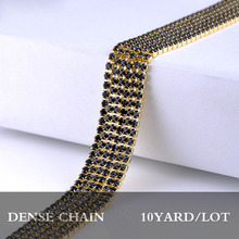 Single row stones chain 10yards/lot 3.0mm black crystal strass rhinestones trim gold base dense cup rhinestones chain for dress