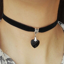 N2015 Gothic Velvet Heart Crystal Choker Handmade Necklace Pendant Retro 80 90s New One Direction