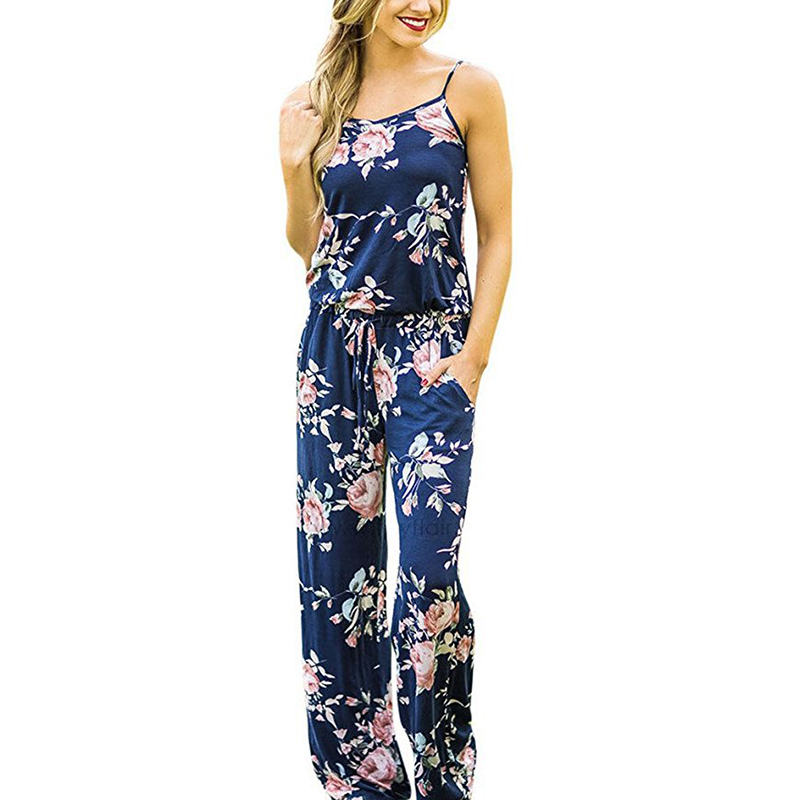 Spaghetti Strap Jumpsuit Women 2018 Summer Long Pants Floral Print Rompers Beach Casual Jumpsuits Sleeveless Sashes Playsuits 20