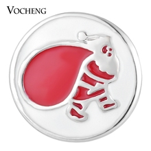 Vocheng Ginger Snap Santa Christmas Gift 18mm Button Charms Painted Design Vn-1739
