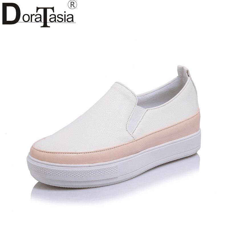 DoraTasia 2018 Spring Autumn Fresh White Shallow Flat Platform Loafers Shoes Woman Slip-On Plus Size 30-44 Increase Internal<br>