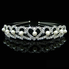 Crown Wedding Crown Bride Crown Silver Plated Pearl Crystal Princess Tiara Heart Headband Pageant Crowns for Bride Hair Dress(China)