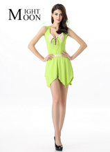 MOONIGHT New Sexy Halloween Costume Fairy Costume Forest Green Elf Dress+Wings Flower Fairy Cosplay Costumes