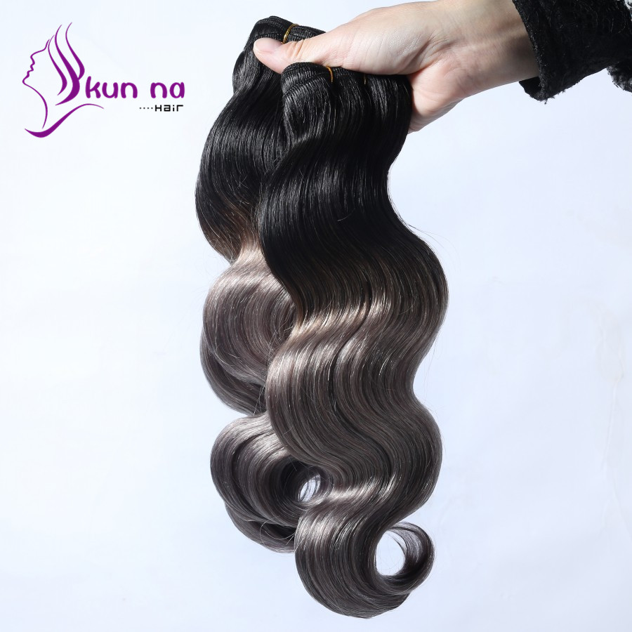 4 Bundles T1b/grey Hair Extensions Body Wave hair Bundles Brazilian real human hair Cheap Weave Bundles In stock 7A best quality<br><br>Aliexpress