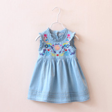 2016 Drop Ship Brand Girls Summer Denim Dress Classical Sleeveless Baby Girl Dresses Plaid Princess Dress Children's Clothing