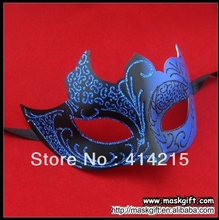 Top Sell Halloween Design Dark Blue And Black Venetian Masquerade Mask Wholesale EMS Free Shipping(China)
