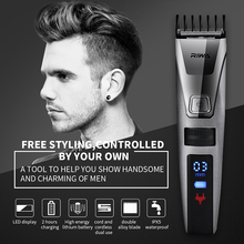 Riwa LED Display Professional Electric Men's Hair Trimmer Cutter Rechargeable Haircut Cutting Machine Clipper for Adult Children(China)