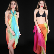 Fashion Trendy Women's Summer Soft Colorful Gradient Long Shawl Chiffon Scarves Sunscreen Silk Thin Beach Wrap Stole Scarf Gifts