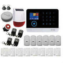 Intruder Alarm System Wifi GSM GPRS Auto Dial Home Security System Burglar Alarm Kit With Solar Power Siren Smoke Detector