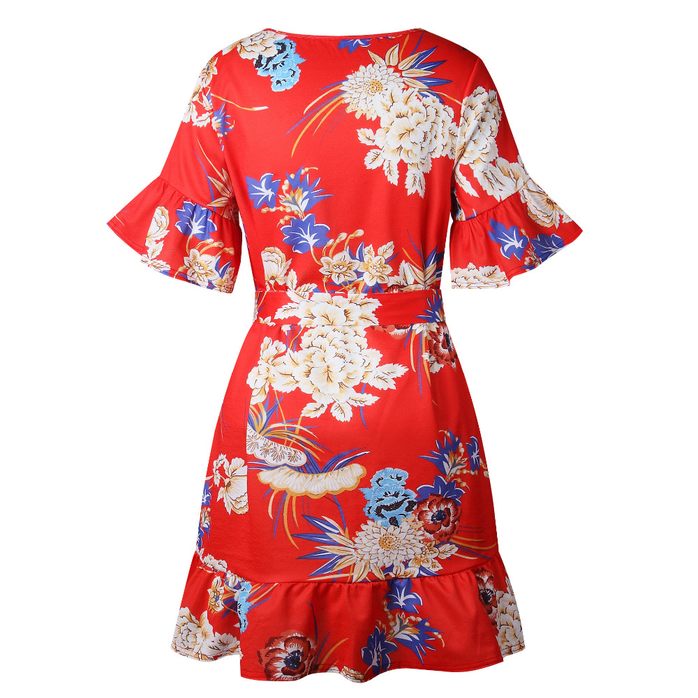 Lossky Summer Women Beach Dress 2018 Bohemian Floral Print Boho Dress O-Neck Short Sleeve Ruffle Mini Chiffon Dress With Belt 8