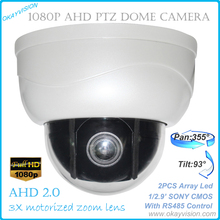 New mini AHD ptz cameras with full hd p2p motorized zoom lens ptz dome camera,3x Optical Zoom 2MP AHD PTZ Camera Free shipping