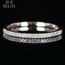 HELON Half Eternity Band For Women Jewelry Ring Solid 10K Yellow Gold Pave Natural Diamond Engagement Wedding Fine Ring Setting
